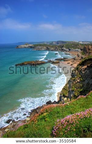 Rocky shore in Newquay, Cornwall, UK - stock photo