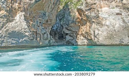 rocky shore in Orosei Gulf. - stock photo
