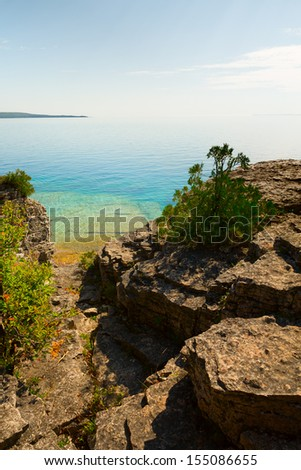 Rocky Shore of Georgian Bay, Bruce Peninsula, Ontario, Canada - stock photo