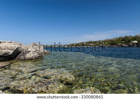 rocky shore of Georgian Bay, Ontario, near Tobermory Ontario - stock photo