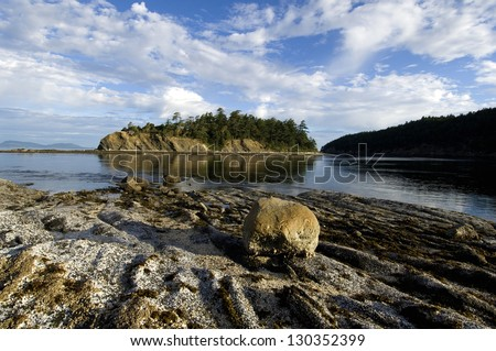 Rocky shore of Sucia Island at Low Tide, San Juan Islands, Washington State / Pacific Northwest Summer Morning - stock photo