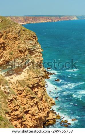Rocky Shore Of The Black Sea.Cape Kaliakra, Kavarna, Bulgaria - stock photo