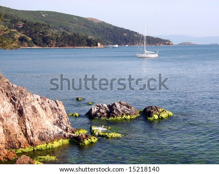 Rocky shore of the Marmara Sea. Buyukada - Turkey