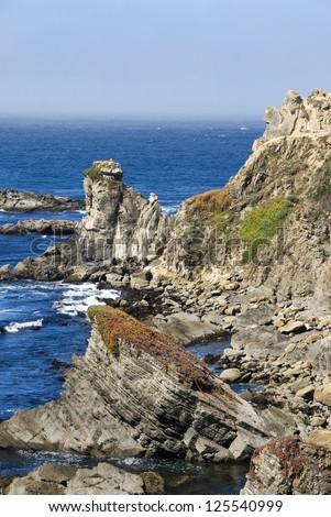 Rocky shore on the California northern coast - stock photo