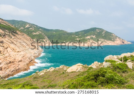 Rocky shoreline of Po Toi Islands in Hong Kong - stock photo