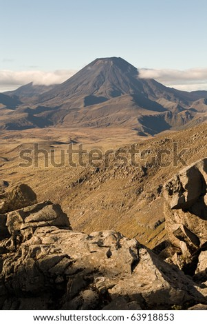 Rocky terrain leading to Mt Doom, Ngauruhoe, New Zealand - stock photo