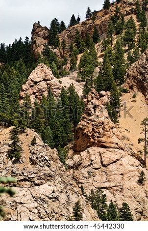 Rocky terrain of the Seven Falls State Park near Manitou Springs and Colorado Springs - stock photo