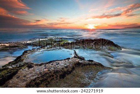Rocky Tidepools at Johanna Beach in the Cape Otway National Park, Victoria, Australia - stock photo