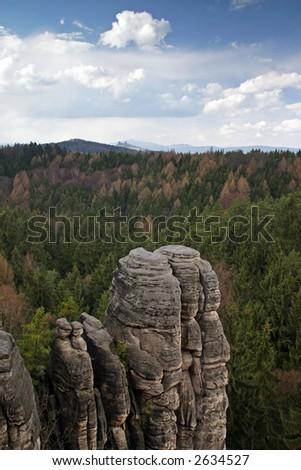 Rocky town of Prachov Rocks, Czech Republic - stock photo