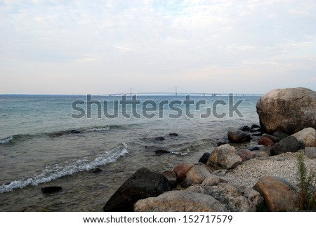 Rocky view of the Mackinac Bridge - stock photo