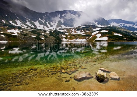 Rocky Water in the Misty Mountains - stock photo