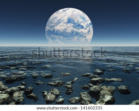 Rocky Watery Landscape with planet or earth with terraformed moon in the distance - stock photo