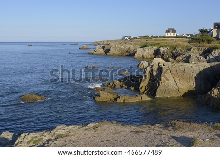 Rocky wild coast (Cote sauvage in French) of Le Pouliguen in Pays de la Loire region in western France