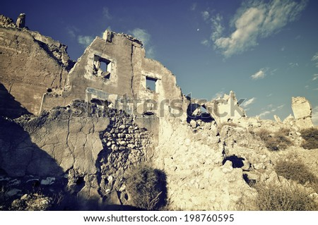 Roden village destroyed in a bombing during the Spanish Civil War, Saragossa, Aragon, Spain - stock photo