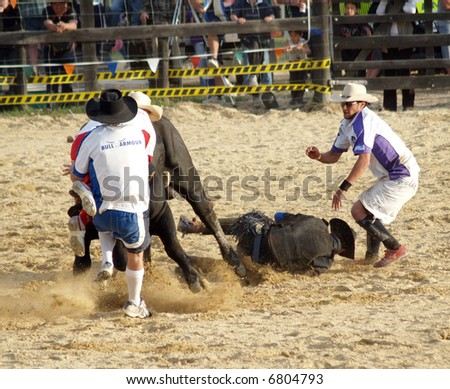 Rodeo Clowns in to the rescue - stock photo