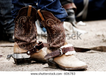 Rodeo cowboy's boots - stock photo