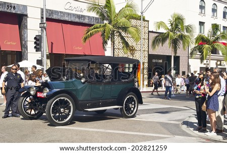 RODEO DRIVE CONCOURS D'ELEGANCE, BEVERLY HILLS/CALIFORNIA - JUNE 15, 2014: 1914 Cadillac 4 Passenger Sport Phaeton owned by Joe and Janice Conzonire . June 15, 2014 Beverly Hills, California, USA  - stock photo