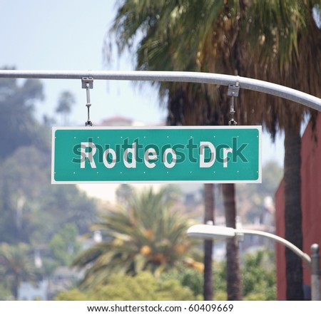 Rodeo Drive sign in affluent Beverly Hills California. - stock photo