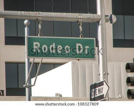 Rodeo Drive street sign in Los Angeles - stock photo