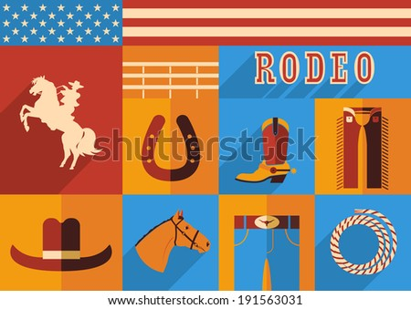 Rodeo horse set of wild west icons.Raster - stock photo