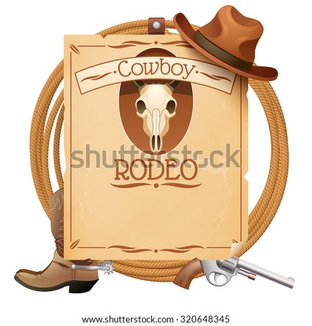 Rodeo retro wild west poster with cowboy hat boots and gun  illustration - stock photo