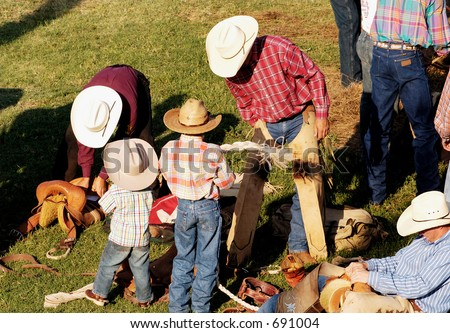 Rodeo riders getting ready to perform. - stock photo