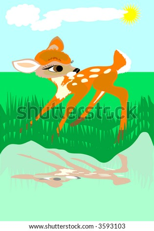 roe on the river - stock photo