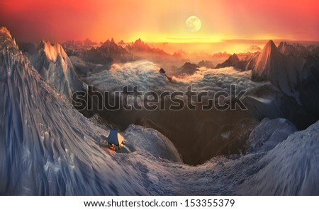 Roerich and the Himalayas to mind in this fantastic story. Photo taken in the alpine hike on Mount Goverla, overlooking the Alps Maramorosh. - stock photo