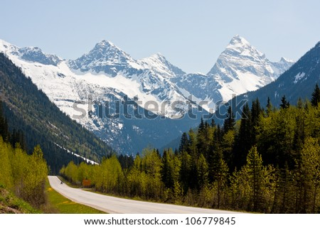 Rogers Pass in the Canadian Rockies - new foliage on the trees against a backdrop of snow-capped mountain peaks.
