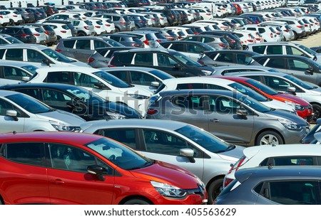 ROGNAC-FRANCE- APRIL13,2016 : New Renault, Nissan, Dacia cars parked at distribution center - stock photo