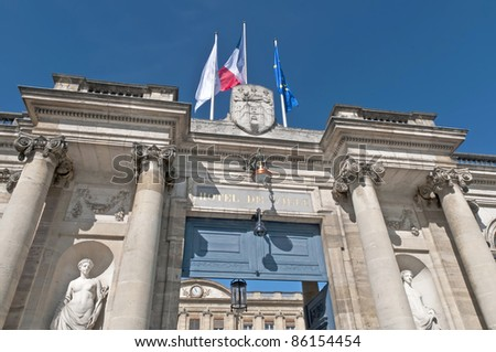 Rohan Palace entrance located at Bordeaux. France - stock photo