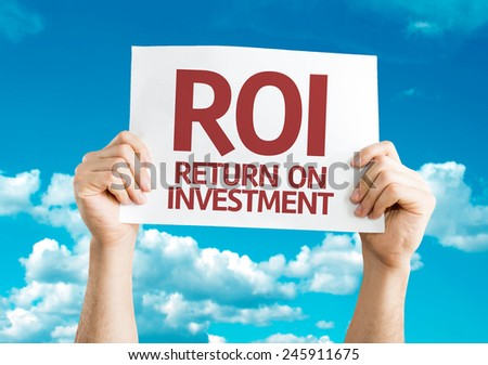 ROI card with sky background - stock photo