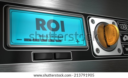 ROI - Inscription on Display of Vending Machine. - stock photo