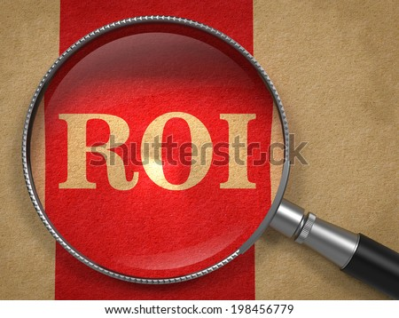 ROI. Magnifying Glass on Old Paper with Red Vertical Line. - stock photo