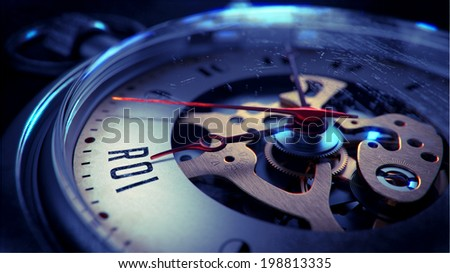 ROI on Pocket Watch Face with Close View of Watch Mechanism. Time Concept. Vintage Effect. - stock photo