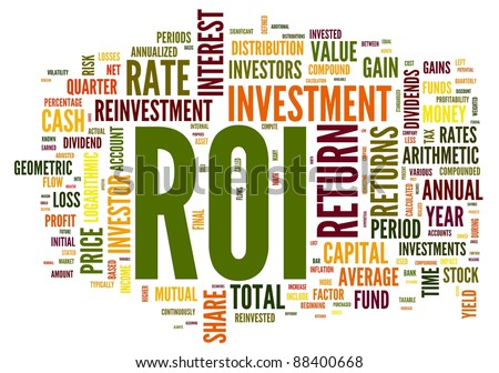ROI - return of investment concept in word tag cloud on white background - stock photo