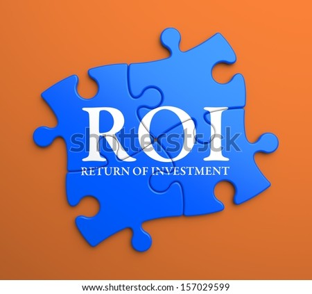 ROI - Return Of Investment - Written on Blue Puzzle Pieces on Orange Background. Business Concept. - stock photo