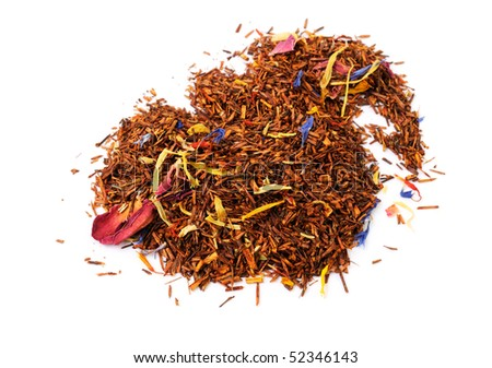 Roibush tea with a flowers mix on white background - stock photo