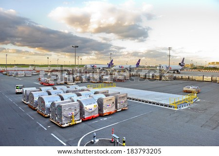 ROISSY - APRIL 4, 2011 - Aircraft FedEx at the airport Roissy Charles-de-Gaulle near Paris, France. They waiting to be loaded on their site. - stock photo