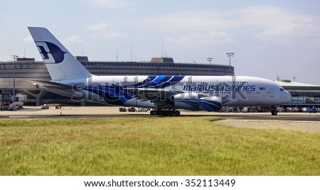 ROISSY, FRANCE -9 JUNE 2015- A jumbo Airbus A 380 from Malaysia Airlines at the Roissy Charles de Gaulle international airport (CDG), in the suburbs of Paris, France.