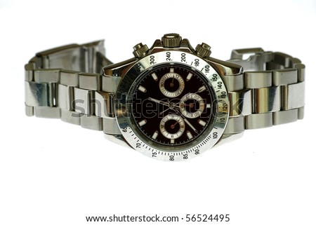 rolex wrist watch isolated in white - stock photo