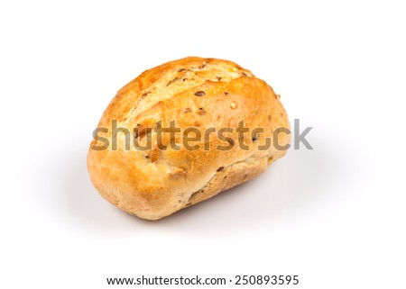roll bun whit sesame on a white background - stock photo