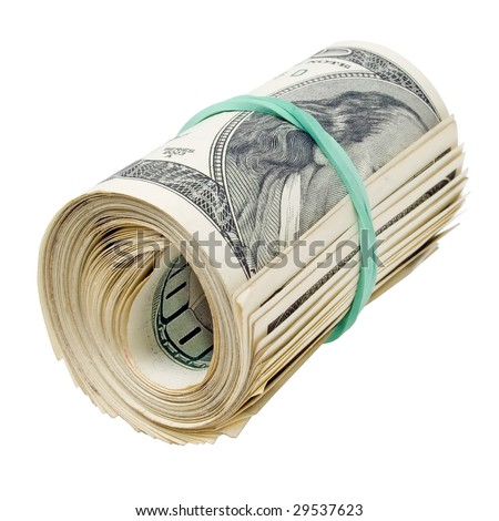 Roll dollars on white background (isolated).
