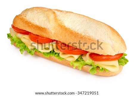 roll filled with cheese, tomato and lettuce - stock photo