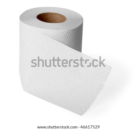 Roll gray toilet paper isolated on white background - stock photo