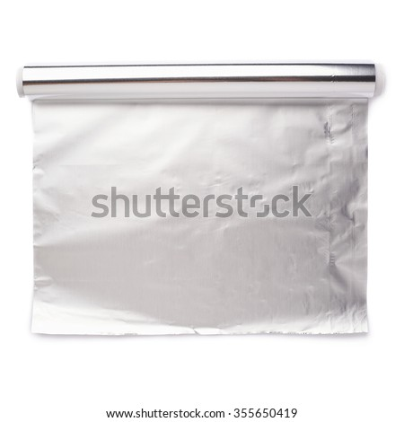Roll of aluminium gray foil paper over isolated white background - stock photo