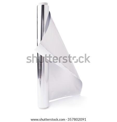 Roll of aluminium gray foil paper over isolated white background