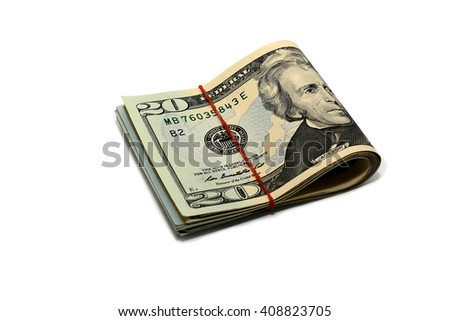 Roll of America money , banknote 20 dollar Isolated on white background