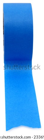 Roll of blue painters tape over white. - stock photo