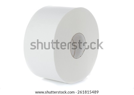 Roll of cash register paper tape on white, isolated - stock photo